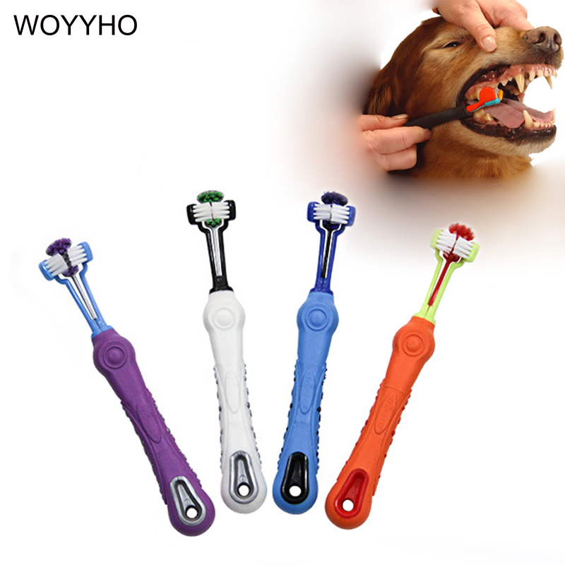 Large Dog Toothbrush Soft Rubber Three Sided Brushes Bad Breath Tartar Cleaning Pet Tooth Care Dog Grooming Tools image