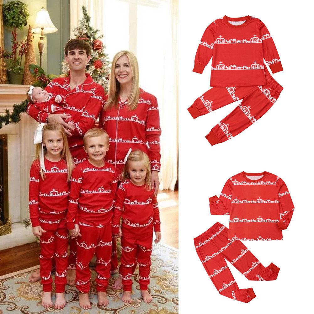 cf3aa95607 Christmas Family Matching Pajamas Clothing Christmas Pajamas Set Women Baby  Kids Santa Sleepwear Nightwear