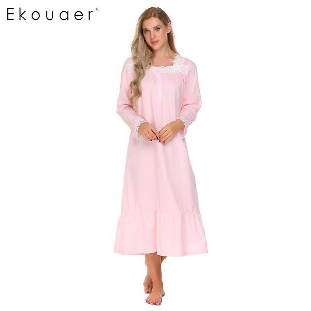 Ekouaer Elegant Solid Nightwear Women Victorian Nightgown Long Sleeve  Sleepwear Lace Patchwork Ruffled Hem Night Dress Plus Size f61ff291b