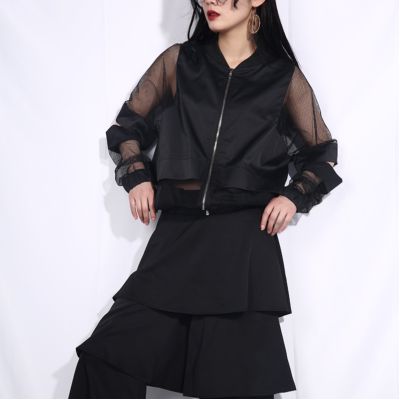 [EAM] 2020 New Spring Autumn Stand Collar Long Sleeve Black Hollow Out Perspective Loose Jacket Women Coat Fashion Tide JF73 2