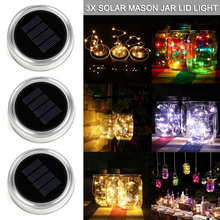 Solar Mason Jar Lid Insert LED Fairy Light for Glass Jars and Garden Decor Christmas String Lights