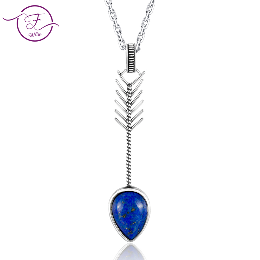 DIY Pure Sterling Silver Vintage Pear ShapeSky Blue Topaz Lapis Pendants Necklaces Women's Handmade Fine Jewelry Gifts Wholesale