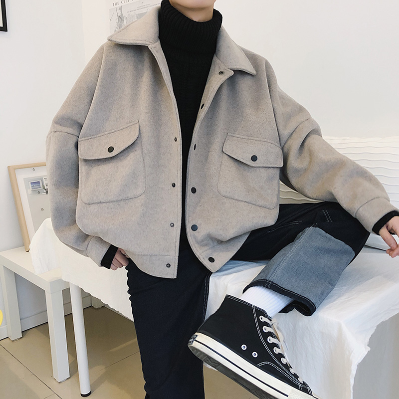 2019 New Personality Winter Coat Men M XXL Solid Color Fashion Youth Wild Loose Woolen Coat Long Sleeve Temperament Leisure in Jackets from Men 39 s Clothing