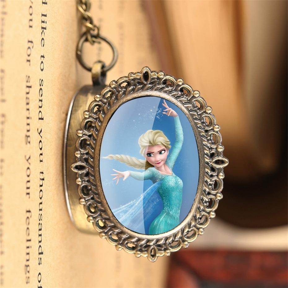 Classic Cartoon Queen Elsa Quartz Pocket Watch Exquisite Bronze Necklace Pendant Clock 80cm Fob Chain Best Birthday Gifts Girls