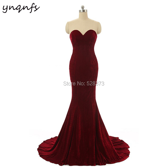 826252b2715 YNQNFS B28 Custom Made Corset Back Burgundy Sweetheart Mermaid Long Party  Gown Velvet Bridesmaid Dresses 2019