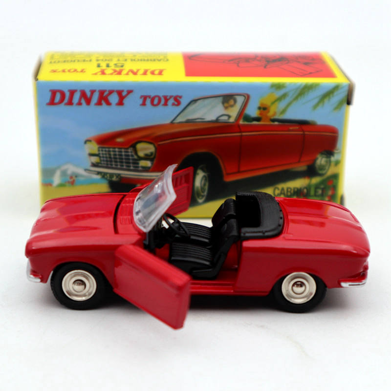 Atlas <font><b>1</b></font>:<font><b>43</b></font> Dinky Toys 511 Cabriolet 204 <font><b>Peugeot</b></font> Red Diecast <font><b>models</b></font> <font><b>car</b></font> Limited Edition Collection image