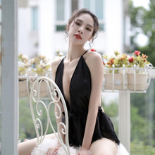 2019 Summer Nightdress Women Sexy Deep V-neck Nightclothes Lace Sleepwear Babydoll Halter Nightgown Sling Nightwear
