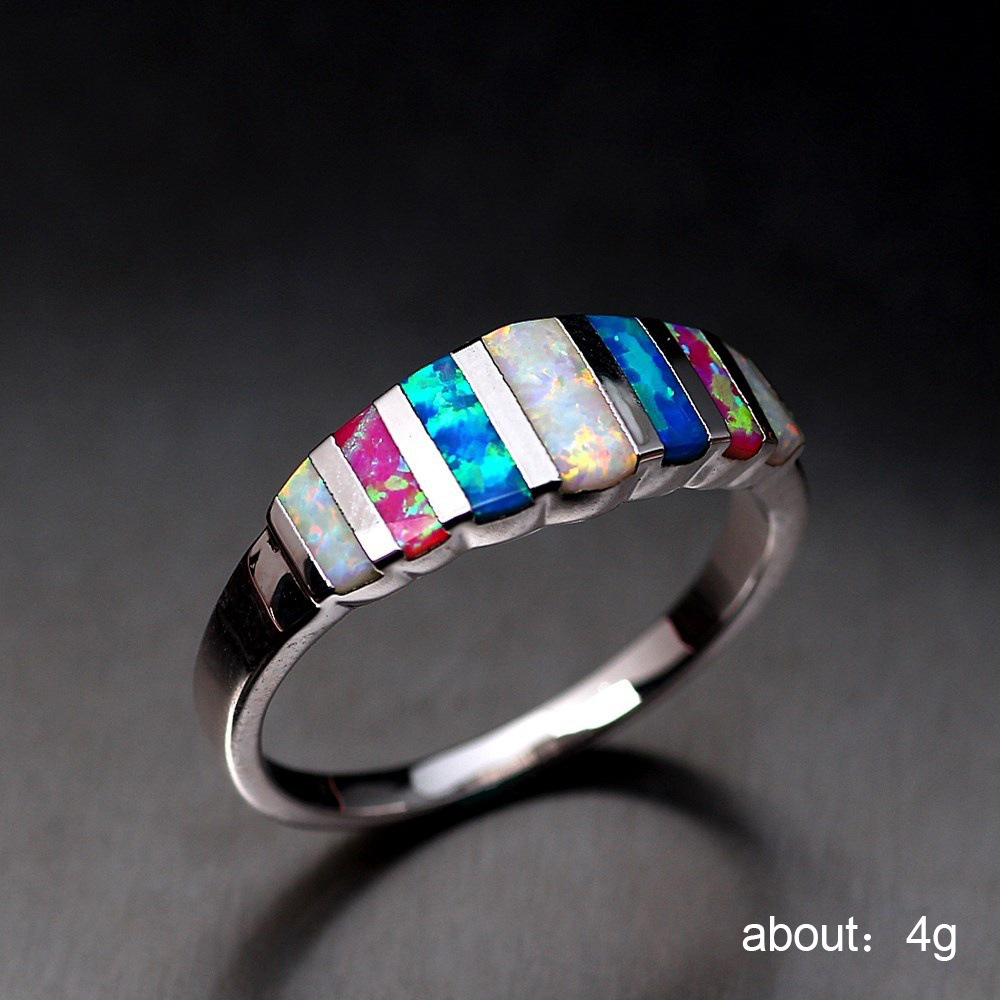 Silver 925 Jewelry Ring Rose gold jewelry crystal Ms Wedding Rings Opal Diamonds Costume jewelry gold ringen chanukah B2419 in Rings from Jewelry Accessories