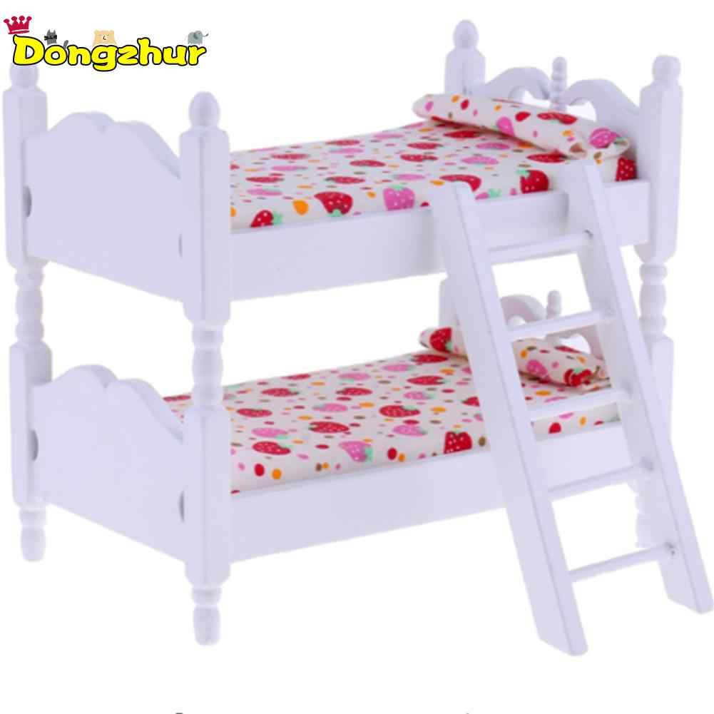 Miniature Children Bedroom Giraffe Girl Chick Bunk Bed For 1:12 Scale Doll House Scene Matching DIY Handmade Accessories