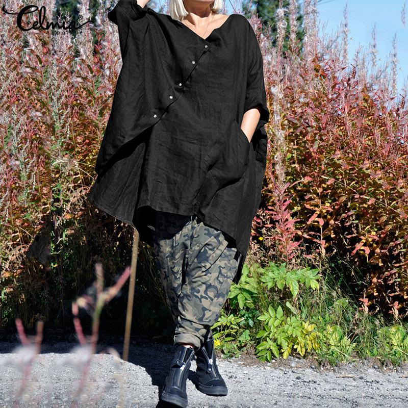 S-5XL Celmia Women Vintage Linen Tops Asymmetrical Blouses 2019 Batwing Sleeve Casual Buttons Loose Blusas Female Long Shirts