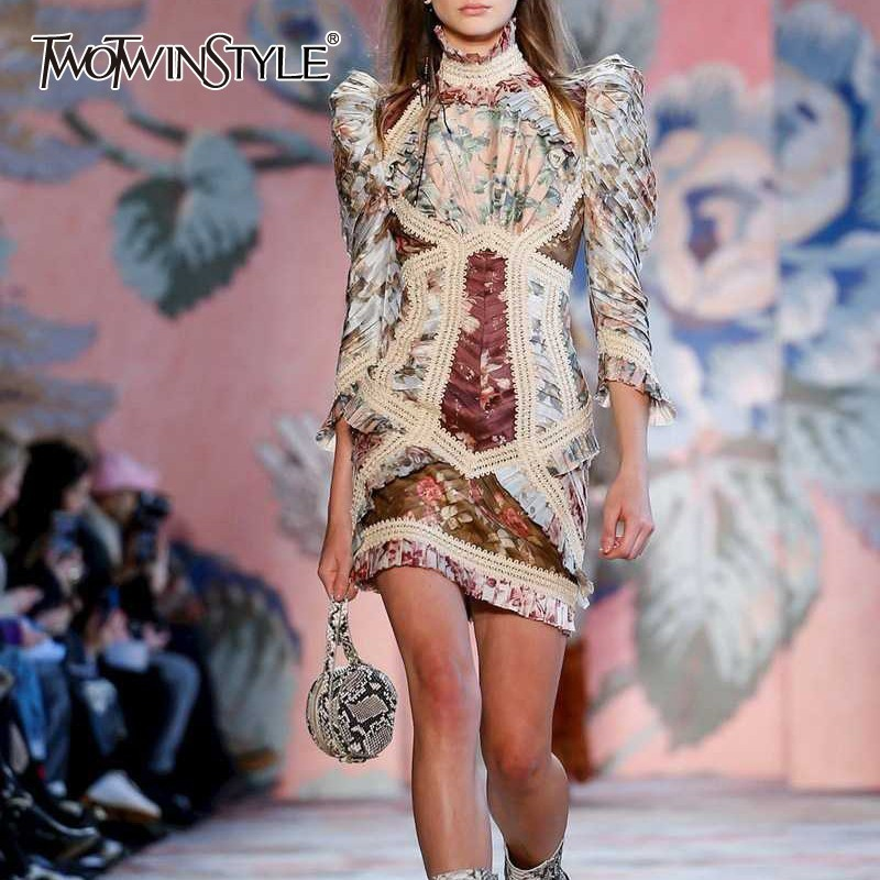 TWOTWINSTYLE Vintage Print Mini Dress TDR19869