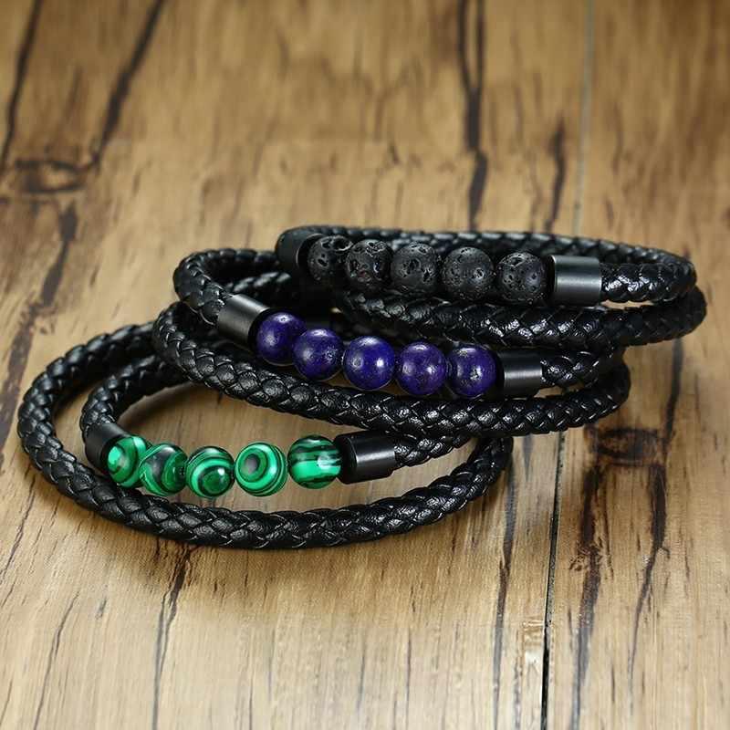 Duplo cadeias de couro trançado masculino pulseira cor preta com natureza pedra contas ímã fivela moda masculina casual jóias