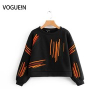 VOGUEIN New Womens Embroidery Long Sleeve Short Sweatershirt Oversized Hoodie Wholesale