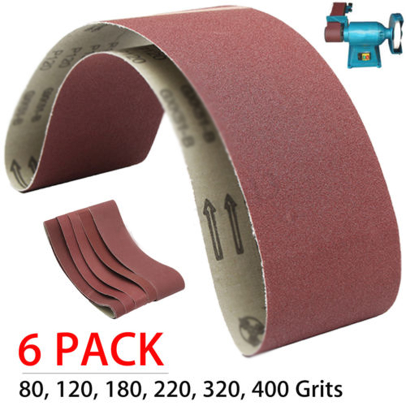 6pcs Sanding Belts For Grinding Polishing 915*100mm Mix 80,120,180,220,320,400Grit Sanding Belt Abrasive Tools