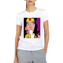 05e89f11 2019 BUSTED Women's Fashion Pop Art Superhero Short Sleeve T-shirt Summer  Cotton Soft Wonder