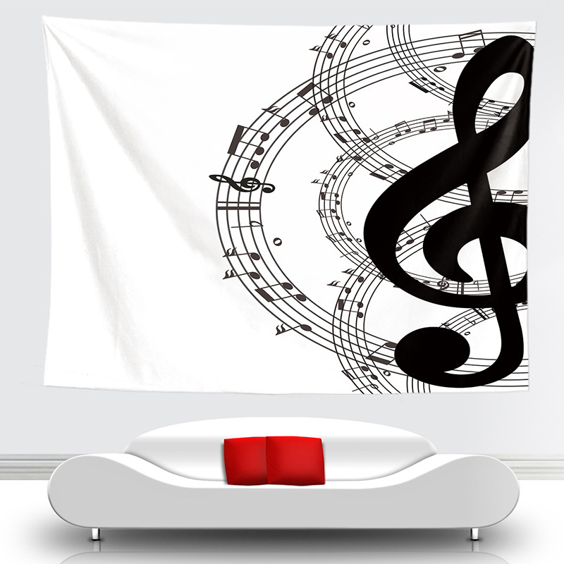 Novelty Art Musica Note Pattern Tapestry Hanging Wall Blankets Light Weight Polyester Fabric Decor Home For Music Lover