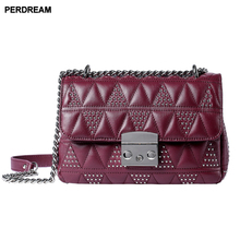 Lingge chains bag women wave Korean style slung wild mini bags shoulder rivet leather new fashion G11