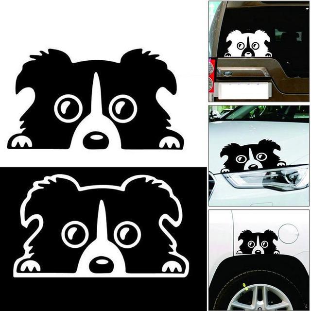 Professional 1pc New 14*8CM Border Collie DOG Personality Reflective Glass Rear Pet Car Sticker Black White