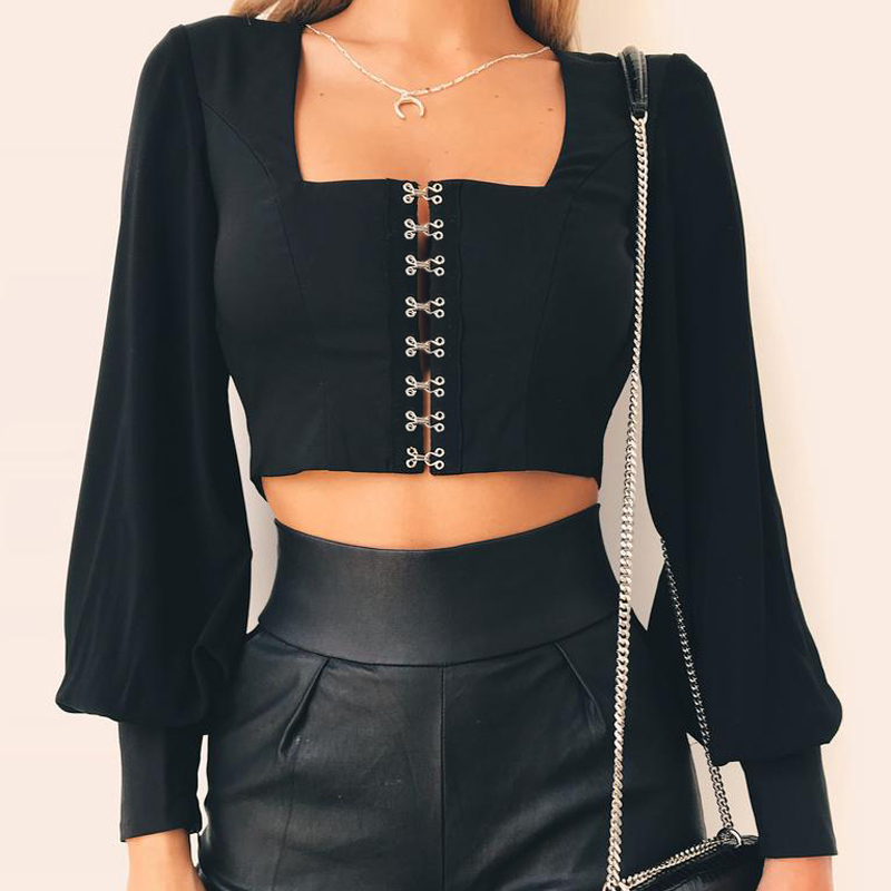 Backless Lantern Sleeve Short <font><b>T</b></font>-<font><b>shirt</b></font> Women Square Collar Long Sleeve Summer Crop Top Women <font><b>Bow</b></font> Tie Sexy Women Tshirt image
