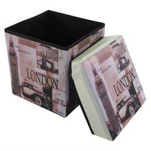 Práctica creativa telas no tejidas Vintage impresión hogar taburete con capacidad de almacenamiento caja de almacenamiento de ropa