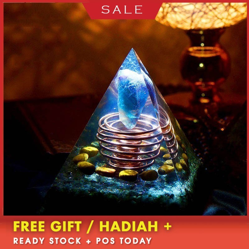 Orgonite Large Pyramid High Frequency Austrian Spiritual Energy Tower Magic Stone Aogen Crystal Chakra Top Wheel Home Decoration