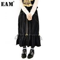 [EAM] 2019 новая весна лето Высокая талия черные, на шнурке оборки боковые вентиляционные личности джинсовая полуюбка Женская мода JU103