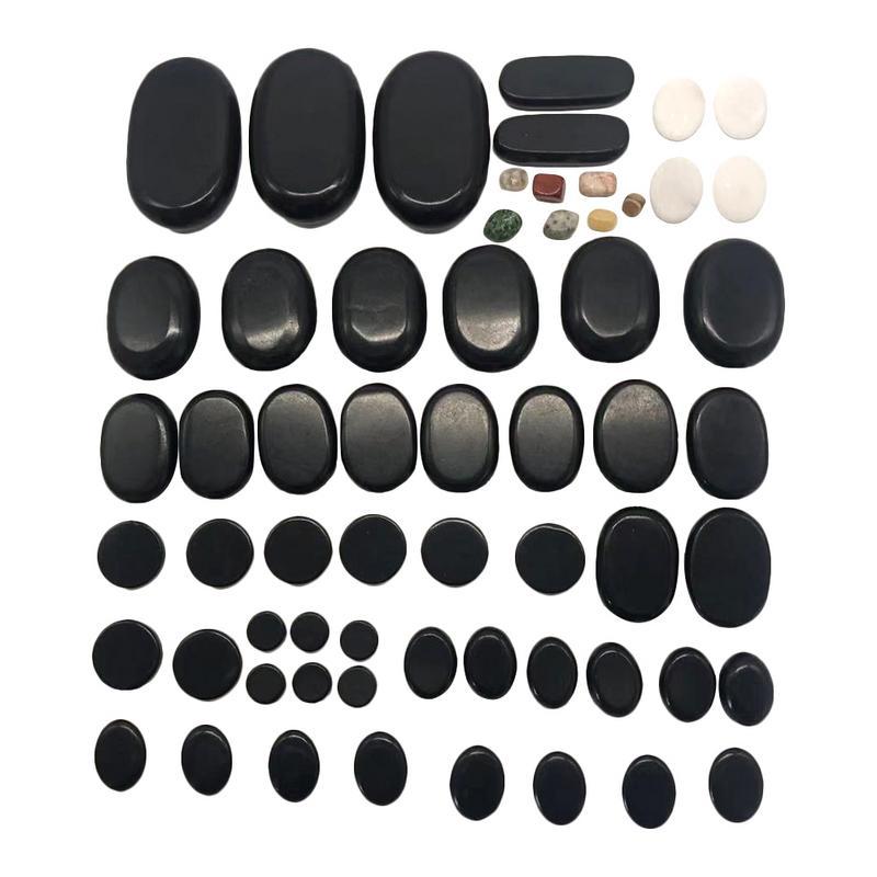 60 Piece Set Massage Stone SPA Tool Black Basalt Energy Hot Stone Rock Basalt Beauty Stones Massage Lava Natural