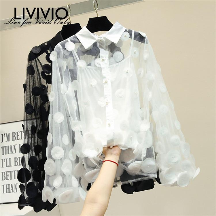 [LIVIVIO] Casual Turn Down Collar Mesh   Blouse     Shirt   Sexy Flower Pearl Lantern Sleeve Feminine   Blouse   Women Summer Top Female