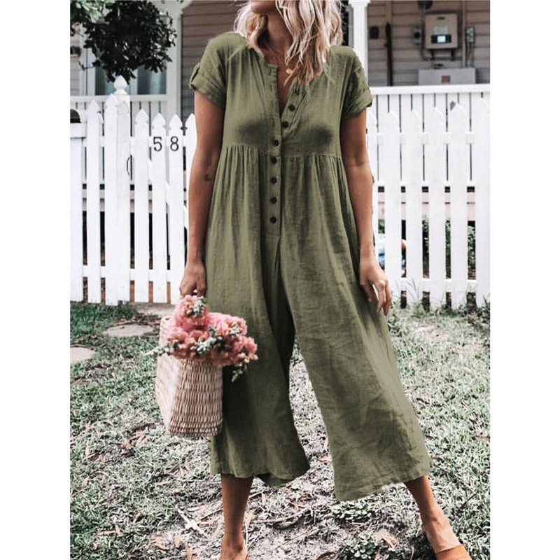Women's summer short sleeve button long   jumpsuit   playsuit casual loose holiday beach rompers trousers