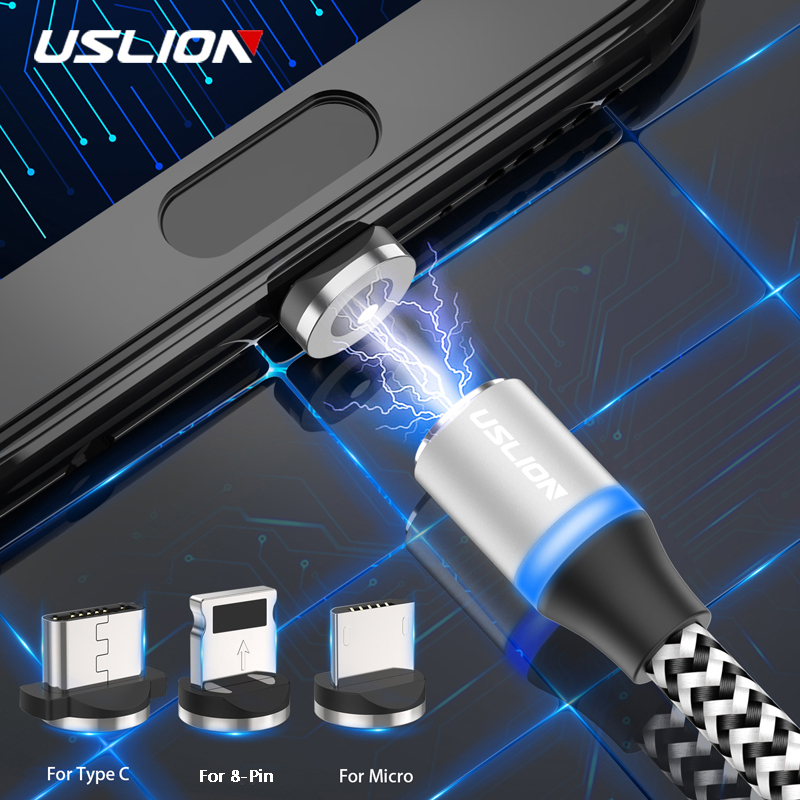 USLION Magnetic usb Charging Cable LED Micro USB Type C 1M 2M Weaving Microusb Charger For iPhone x Samsung