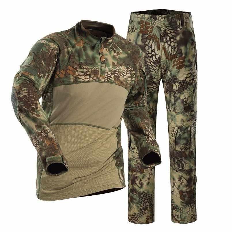 2019 Тактическая Военная Боевая форма, мужской армейский боевой Камуфляжный костюм, Высококачественная рубашка + брюки-карго, тренировочный комплект одежды