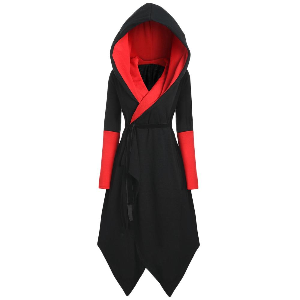 Winter   Trench   Plus Size Female topcoat Asymmetric Hooded Skirted Coat Women Color Block slim Long Outwear Coats Elegant Overcoat