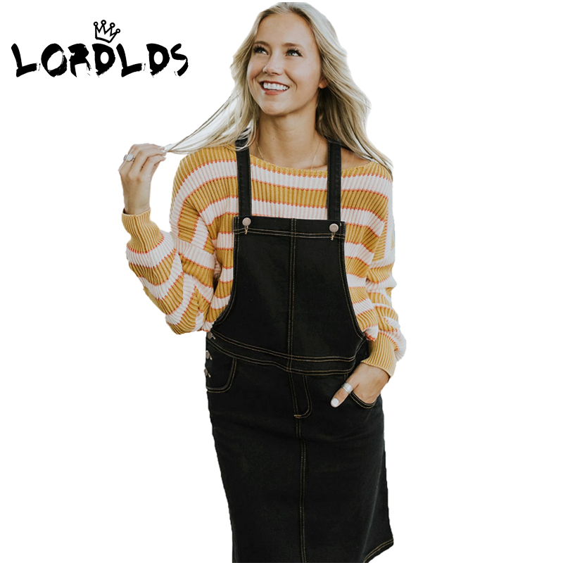 ec0c29747b LORDLDS Black Denim Dresses Women Sundress 2018 Casual Sleeveless Jeans  overall Midi Dress Ladies Clothes