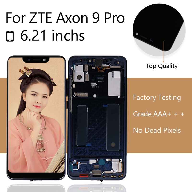 for ZTE Axon 9 Pro Screen LCD Touch Digitizer for ZTE Axon 9 Pro LCD Screen Axon 9 Pro LCD Display with Frame free shipping