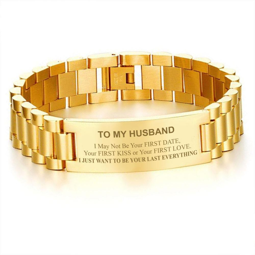 Jewelry & Accessories Chain & Link Bracelets Trendy To My Husband Mens Bracelets Engraved I Just Want To Be Your Last Everything Promise Love Gifts