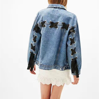 Turn Down Collar Jacket Denim Jacket Loose Women Jeans Coat Female Spring Bomber Jacket Feminina Oversize Autumn Lace Up Bowknot