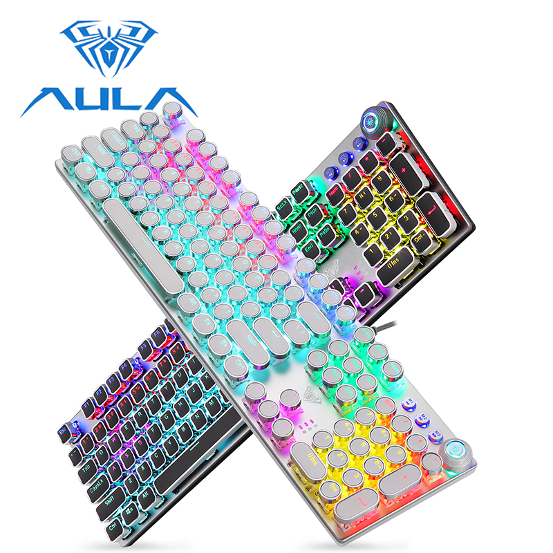 AULA Mechanical Gaming Keyboard Retro Steampunk RGB LED Backlit 104 Keys Waterproof For PC Computer Laptop Game Gamer Kyeboard