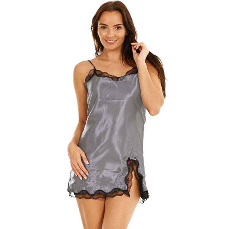 Women Sexy Sleepwear Nightgown Satin Silk Babydoll Lace Sleepwear Babydoll  Lingerie Solid Sling Nightwear Nightdress