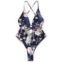 ZAFUL New 2019 Floral High Leg One Piece Swimsuit Sexy Criss Cross High Cut Swimwear Women Backless Padded Bodysuit Beachwear