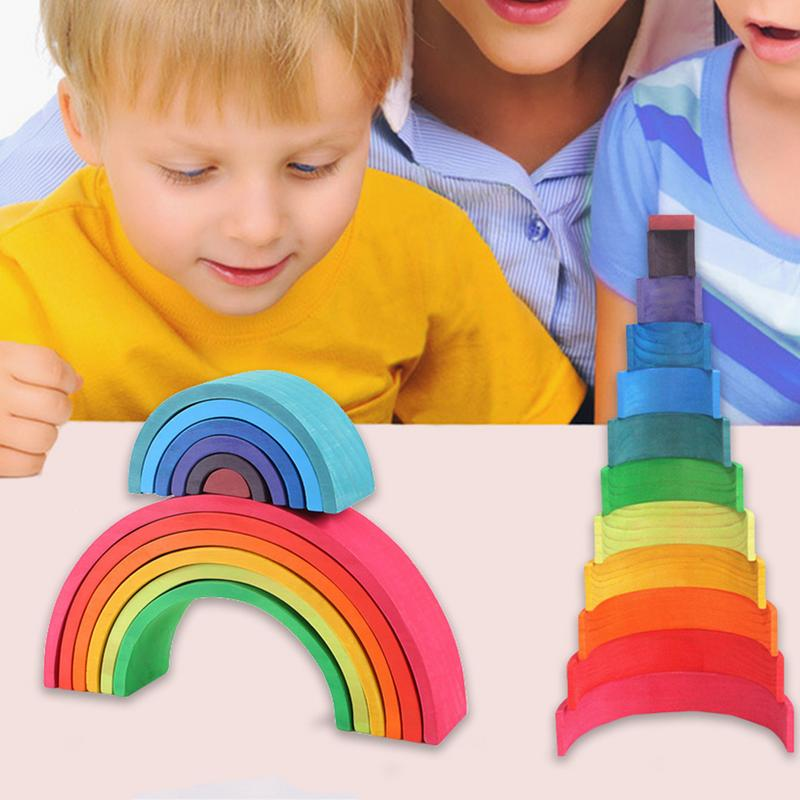Baby Rainbow Stacker Nesting Puzzle Blocks 12 Pcs Wooden Building Blocks Children's Early Education Enlightenment Instrument