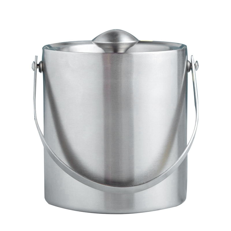 Ice Bucket Silver 1.3L Stainless Steel Insulated Lid Tongs Wine Cooler