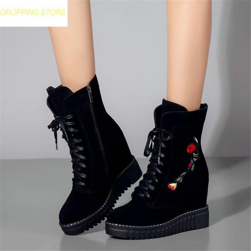 Chaussures Cuir forme Sneakers Salut Coins Escarpins black2 top Bottes De khaki1 À Plate Talons Soirée D'équitation Vache En 2018 Pour gray2 Broder Hiver Black1 Femmes Hauts A5L34Rj