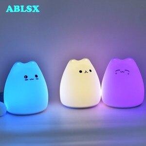 Image 2 - Tier Nacht Lampe Baby 3D Cartoon Kleine Katze Nachtlicht Für Schlafzimmer Lampen AAA Batterie Weihnachten Weihnachten Farbe Geändert Nachtlicht