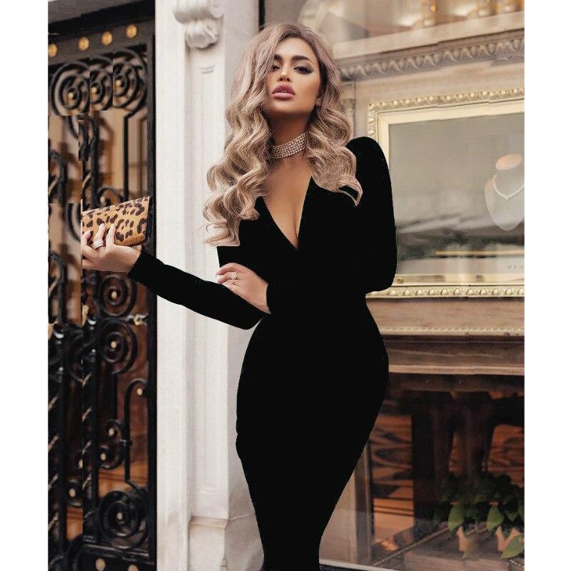 2019 grande taille femmes Bandage moulante robe bureau dame OL vêtements d'été à manches longues col en V Sexy soirée Cocktail robe courte