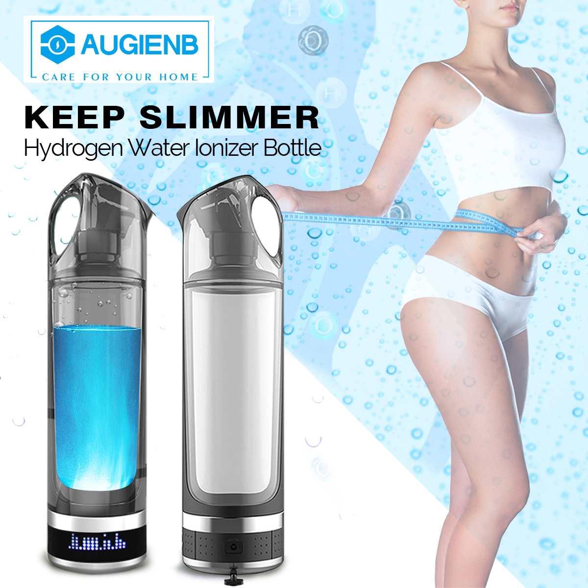 Augienb saludable Anti-envejecimiento rica en hidrógeno botella de agua de generador de 500 ML Pantalla LED de generador de hidrógeno del agua ionizador de BPA -libre