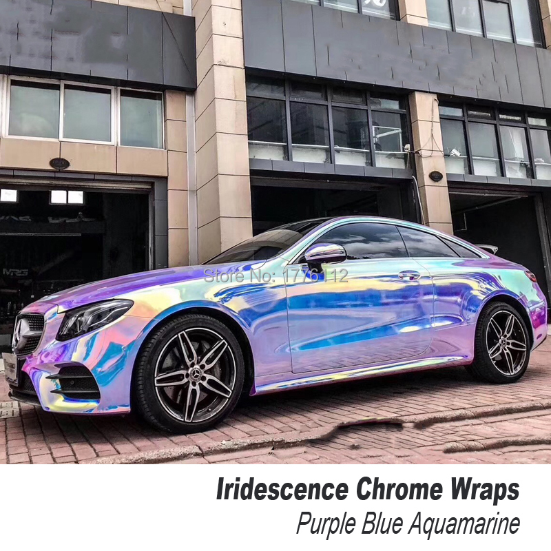 Premium Mystic Chrome wrapping film Ammolite Gem Blue Agat Purple blue Aquamarine Car Wrap Vinyl Sticker Three colors title=