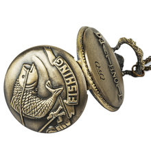 Vintage Pocket Watches Fishing Fish Fob Watch Relogio Masculino De Bolso For Man Woman Clock Nurse Birthday Gifts