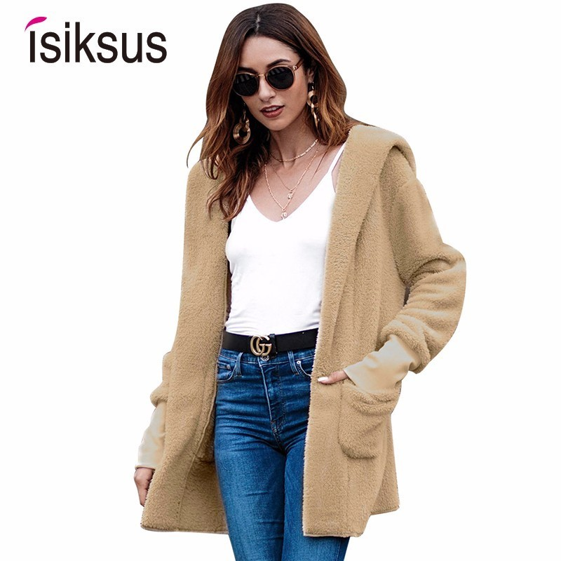 Isiksus Fleece Cardigan   Jackets   Women Long Sleeve Autumn Winter Fur Hooded Coats Female Casual   Basic     Jackets   For Women WJ005