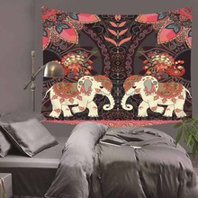 Printed Elephant Tapestry Animal Wall Decorative Hanging Cloth Polyester Fabric Art Plant 130cmx150cm Peiyuan HA33