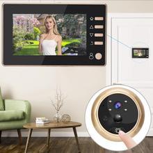 Дверная глазная камера дюйма камера дверной звонок детектор движения съемка запись дисплей видео зритель цифровая дверная камера